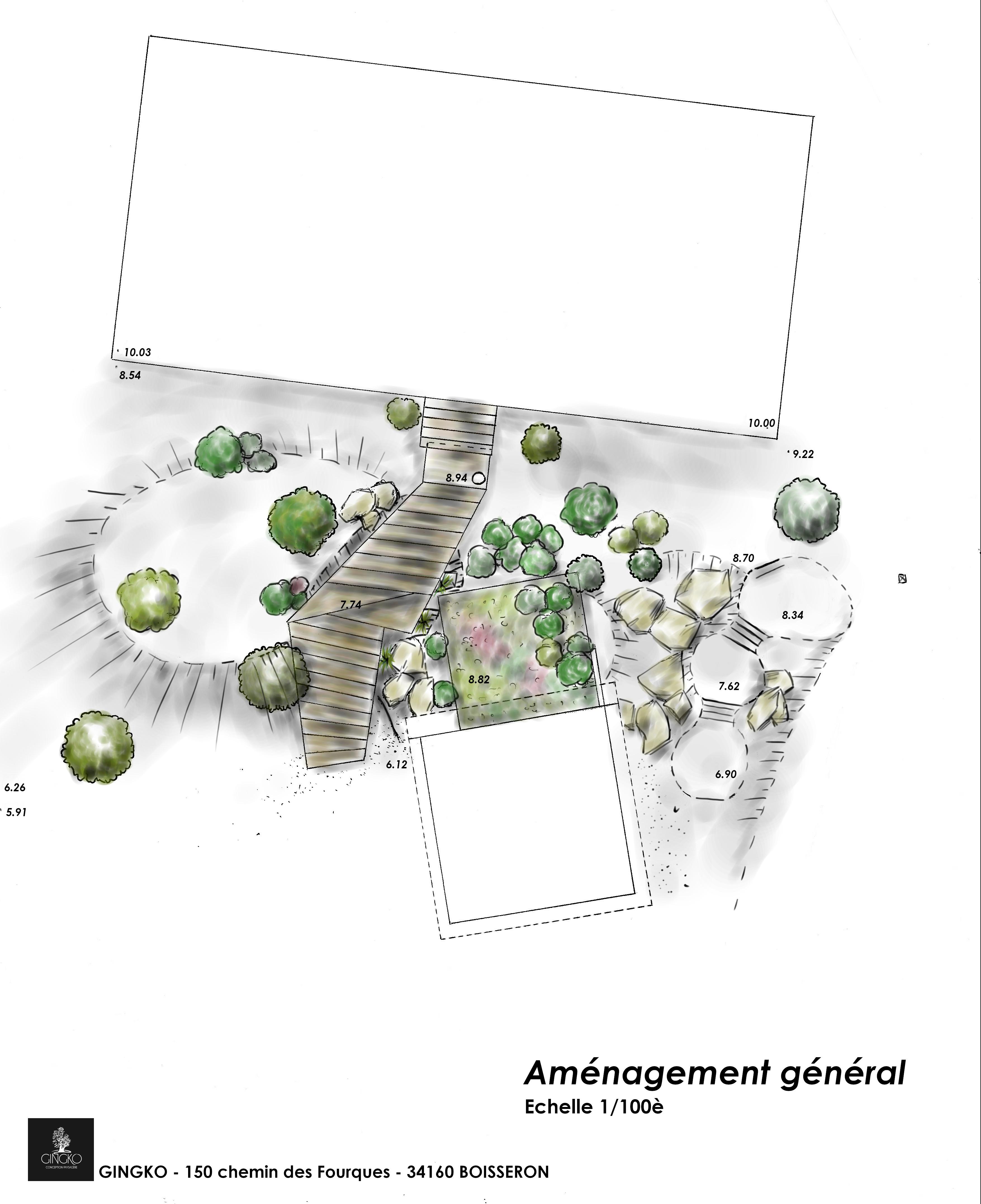 plan aménagement, plan de masse, relevé de terrain, relevé altimétrique, topographie, jardin naturel