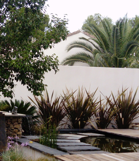 aménagement jardin existant; style; cohérence;bassin